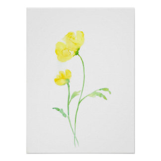 Watercolor Abstract Yellow Poppy Poster