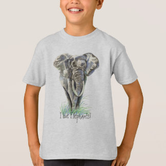 Watercolor African Elephant Animal Nature Art T-Shirt
