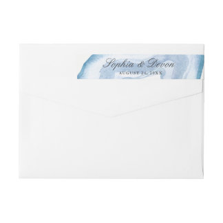 Watercolor Agate | Blue | Wraparound Return Address Label