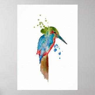 Watercolor Alcyone Bird Poster