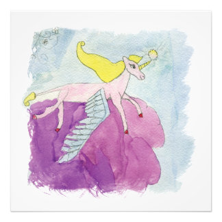Watercolor Alicorn Pony Winged Horse Photo Print
