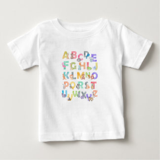 Watercolor Alphabet Animals Baby T-Shirt