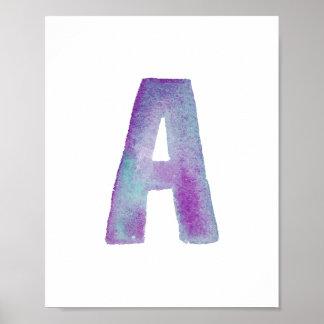 WATERCOLOR ALPHABET MONOGRAM LETTER 'A' | POSTER