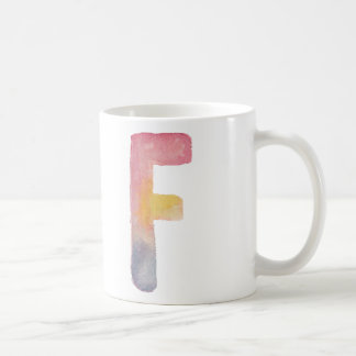 WATERCOLOR ALPHABET MONOGRAM LETTER 'F' | MUG