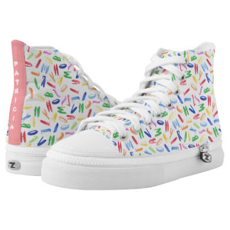 Watercolor alphabet pattern by Lo Lah Studio High Tops