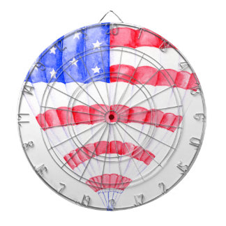 Watercolor American Flag Air Balloon Dartboard