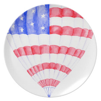 Watercolor American Flag Air Balloon Plate