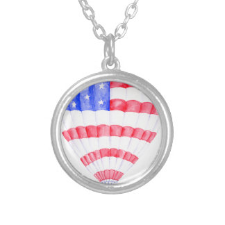 Watercolor American Flag Air Balloon Silver Plated Necklace