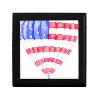 Watercolor American Flag Air Balloon Small Square Gift Box