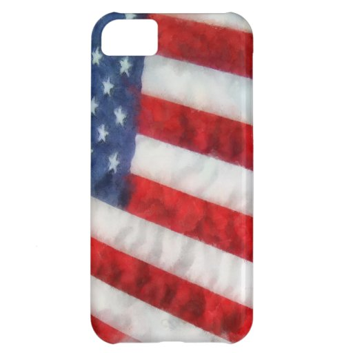 Watercolor American Flag Case For iPhone 5C