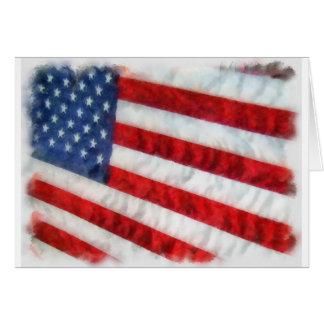 Watercolor American Flag Greeting Card