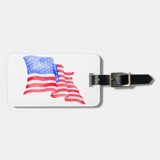 Watercolor American Flag Luggage Tag