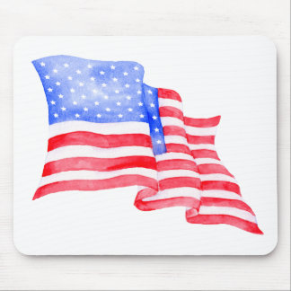 Watercolor American Flag Mouse Pad
