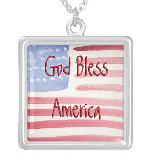Watercolor American Flag Necklace