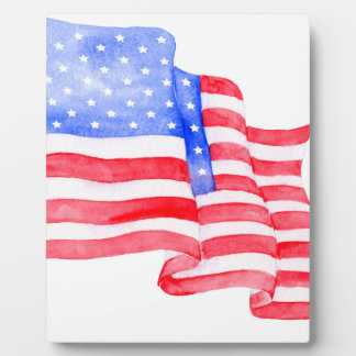 Watercolor American Flag Plaque