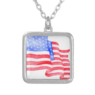 Watercolor American Flag Silver Plated Necklace