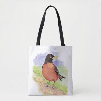 Watercolor American Robin Bird Nature Art Tote Bag