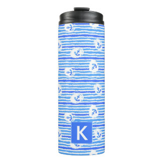 Watercolor Anchor Pattern   Add Your Initial Thermal Tumbler