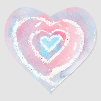 Watercolor and Crayon Heart Stickers