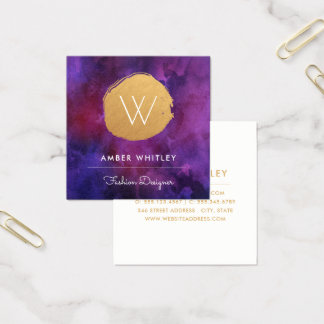 Watercolor and Faux Gold Foil Circle | Deep Purple Square Business Card