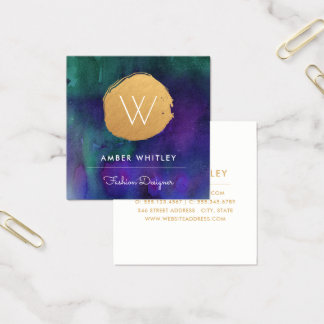Watercolor and Faux Gold Foil Circle | Teal Purple Square Business Card