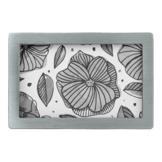 Watercolor and ink flowers - black and white belt buckles