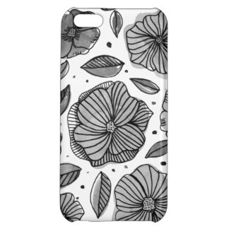 Watercolor and ink flowers – black and white case for iPhone 5C