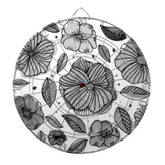 Watercolor and ink flowers - black and white dartboard