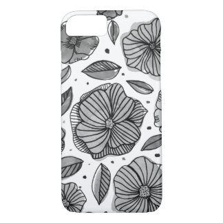 Watercolor and ink flowers – black and white iPhone 8/7 case