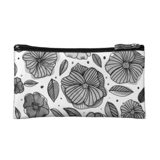 Watercolor and ink flowers – black and white makeup bag