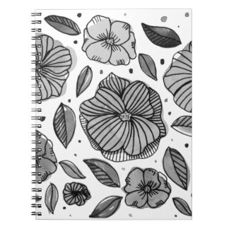 Watercolor and ink flowers - black and white notebooks