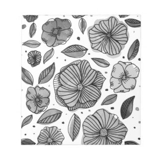 Watercolor and ink flowers – black and white notepad