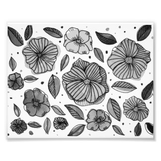 Watercolor and ink flowers – black and white photo print