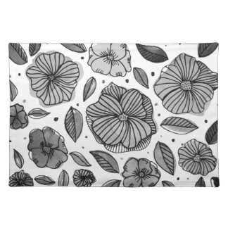 Watercolor and ink flowers – black and white placemat