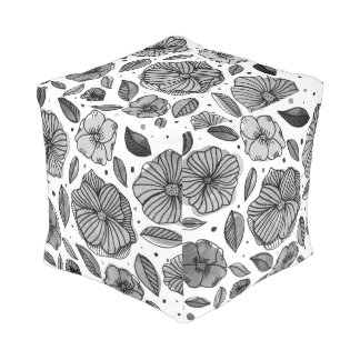 Watercolor and ink flowers – black and white pouf