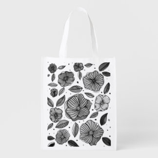 Watercolor and ink flowers – black and white reusable grocery bag