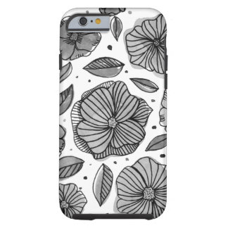 Watercolor and ink flowers – black and white tough iPhone 6 case
