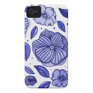 Watercolor and ink flowers - blue iPhone 4 cover