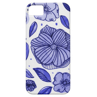 Watercolor and ink flowers - blue iPhone 5 case