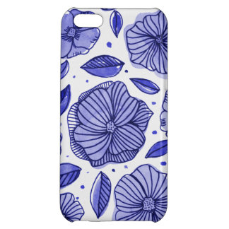 Watercolor and ink flowers – blue palette iPhone 5C cover