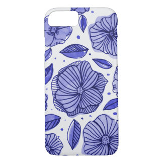 Watercolor and ink flowers – blue palette iPhone 8/7 case