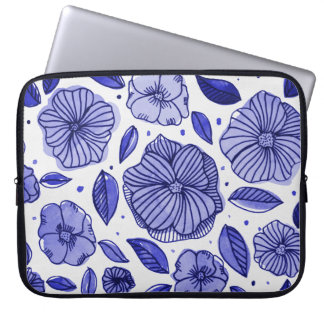 Watercolor and ink flowers – blue palette laptop sleeve