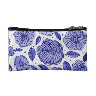 Watercolor and ink flowers – blue palette makeup bag