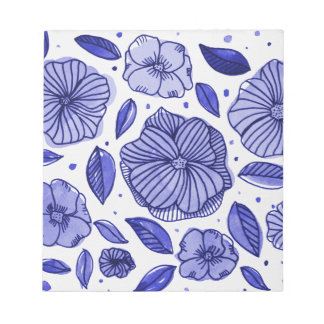 Watercolor and ink flowers – blue palette notepad