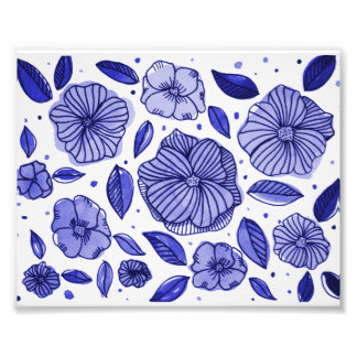 Watercolor and ink flowers – blue palette photo print
