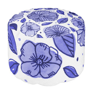 Watercolor and ink flowers – blue palette pouf
