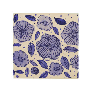 Watercolor and ink flowers – blue palette wood print