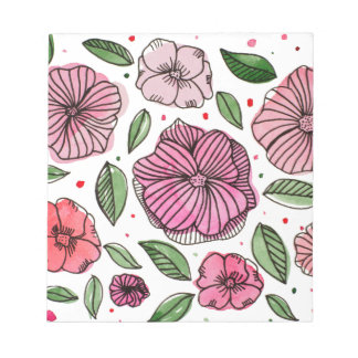 Watercolor and ink flowers – pink and green notepad