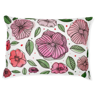 Watercolor and ink flowers – pink and green pet bed