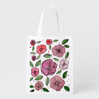 Watercolor and ink flowers – pink and green reusable grocery bag